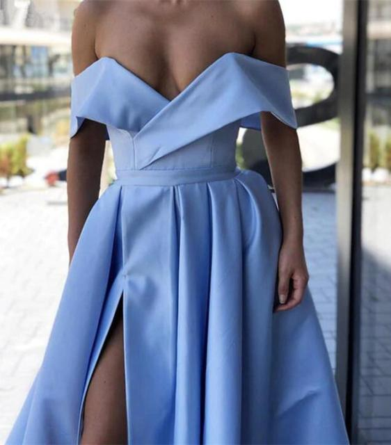 Red Prom Dresses 2019 Off the Shoulder High Slit Long Prom Gown with Pockets vestidos de fiesta largos elegantes de gala 6