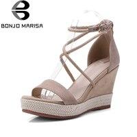 BONJOMARISA Brand Design Kid Suede Leather Summer Sandals Shoes Woman Fashion Cross Belt Wedge High Heels