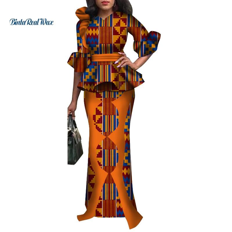 2834c7b78db1 Ropa de mujer africana tradicional 2 piezas faldas conjuntos de corbatas de  lazo africano y faldas ...