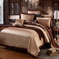 Home Textile Bedding Sets Satin and Cotton High Quality Embroidery Luxury Bed Sheet Jacquard for Wedding Duvet Cover Pillow Case