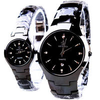 Luxury Brand Full Black Classic Couple Lover Women Men Quartz Full Stainless Steel Wrist Watch Waterproof