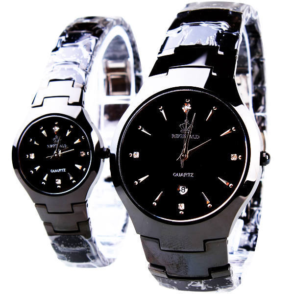HK Fashion Brand Classic Couple Lover Women Men Quartz Full Black Stainless Steel Wrist Watch Function Crown Business Watches