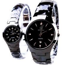 HK Модный Бренд Классический Пара Lover Женщины Мужчины Кварц Полный Черный Нержавеющей Стали Наручные Часы Функция Корона Бизнес Часы