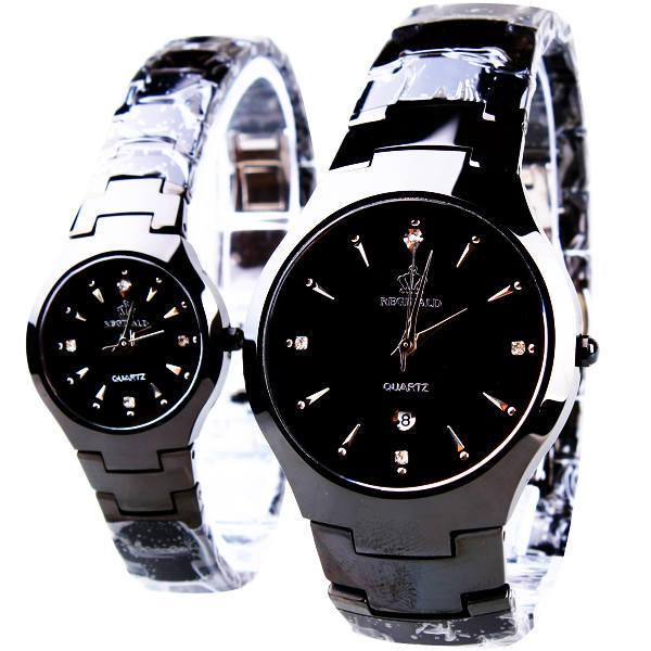 HK Modemarke Klassische Paar Liebhaber Frauen Männer Quarz Voll Schwarz Edelstahl Armbanduhr Funktion Crown Geschäfts Uhren-in Partneruhren aus Uhren bei title=