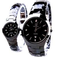 HK marka odzieżowa klasyczna para kochanek kobiety mężczyźni kwarcowy pełna czarny nadgarstek ze stali nierdzewnej zegarek funkcji korona biznes zegarki w Zegarki dla zakochanych od Zegarki na