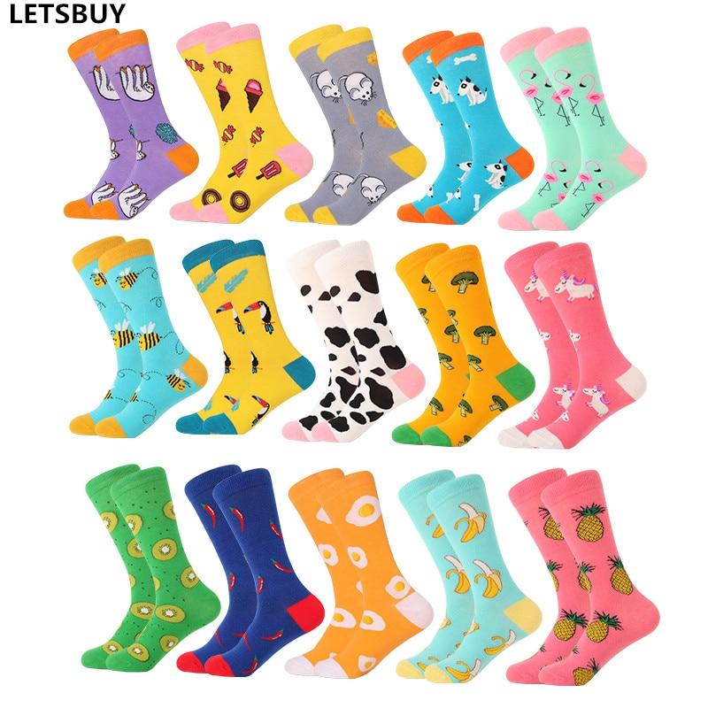 LETSBUY women socks combed cotton harajuku funny creative cartoon animal crew socks lady girls fruit dog bird chili men socks