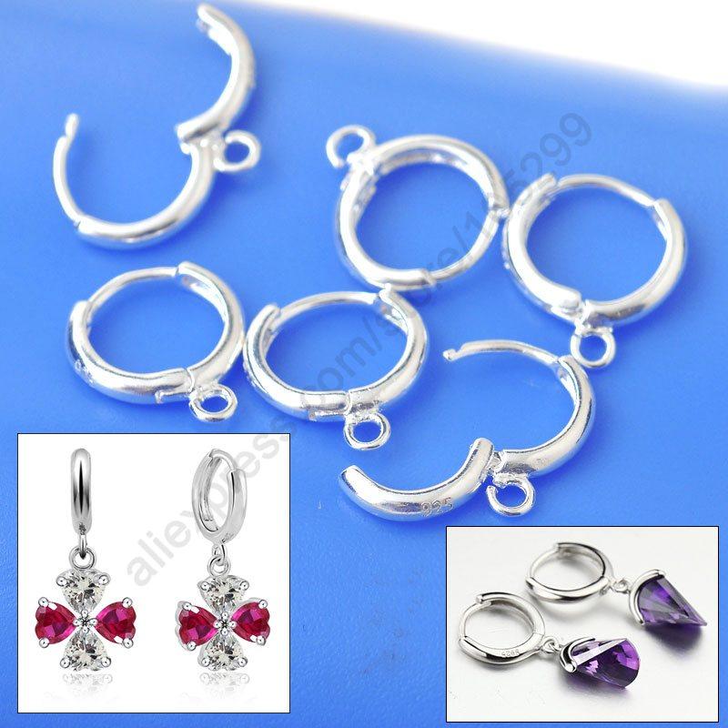 Jei 100pcs European Lever Back Ear Wires Jewelry Findings 925 Sterling Silver Hoop Leverback Beads Earring Handmade Design