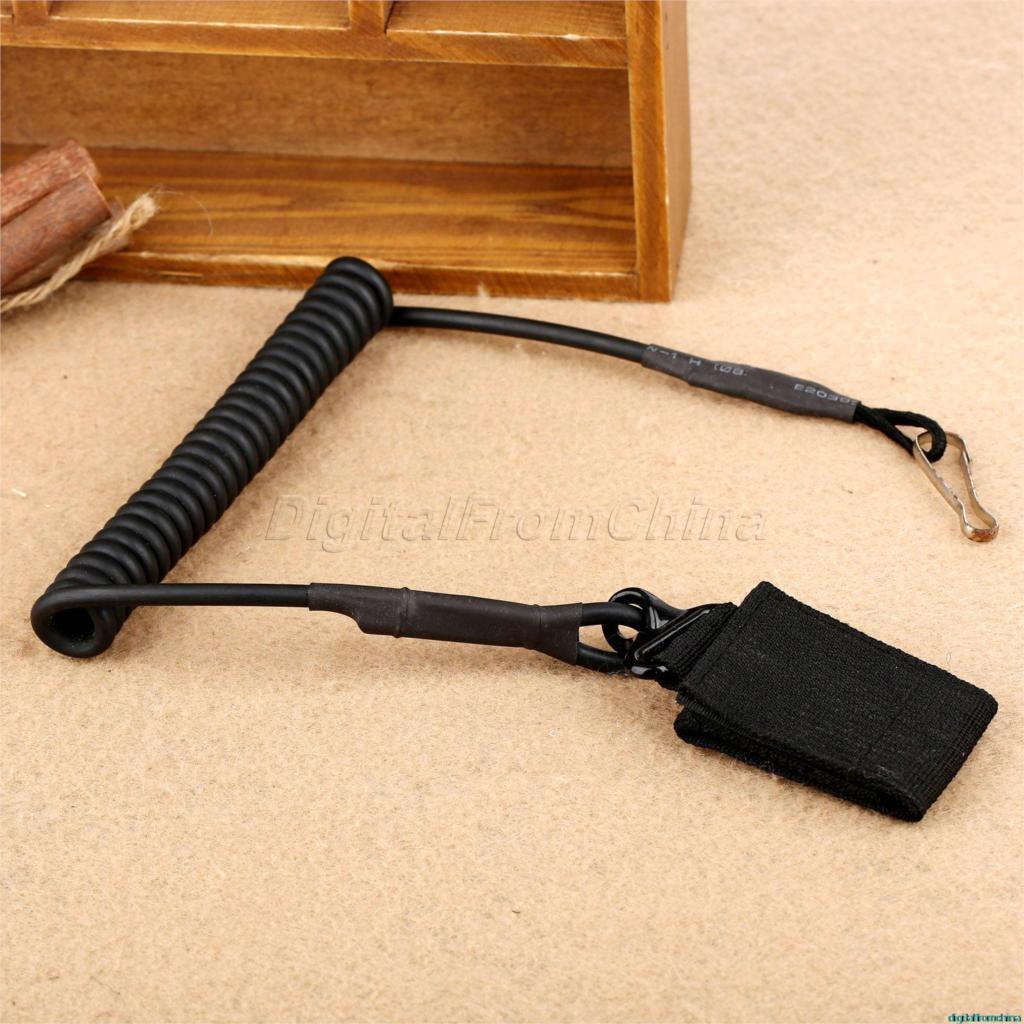 Tactical Pistol Pistole Pružinový závěs 54cm Pružný vinutý pružinový kabel Secure Adjustable Pistol Pistol Pistolový řemínek Sling W / Belt