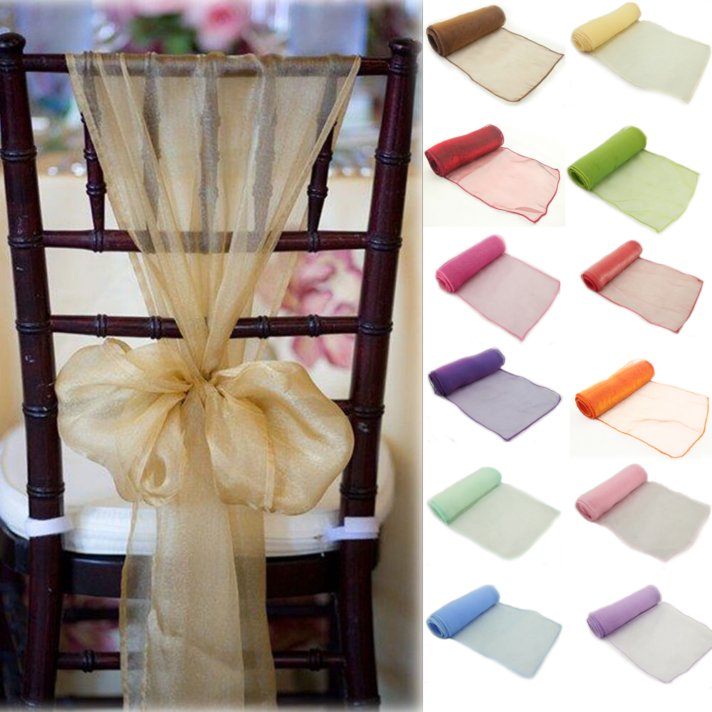 New colors Chair Cover Sashes Organza Material 100 PCS Wedding Sash Wedding Party Wedding Decorations Bow in Sashes from Home Garden