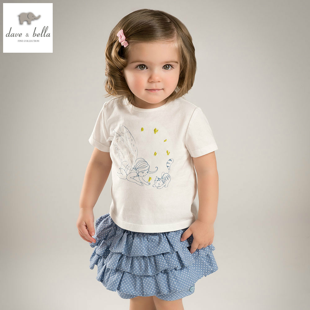 DB4963 dave bella summer baby girls white clothing blue short sets child print set infant clothes kids sets baby costumes 2016 spring girls clothes girls clothing sets new arrival female child flower print o neck pullover short skirt set baby twinset
