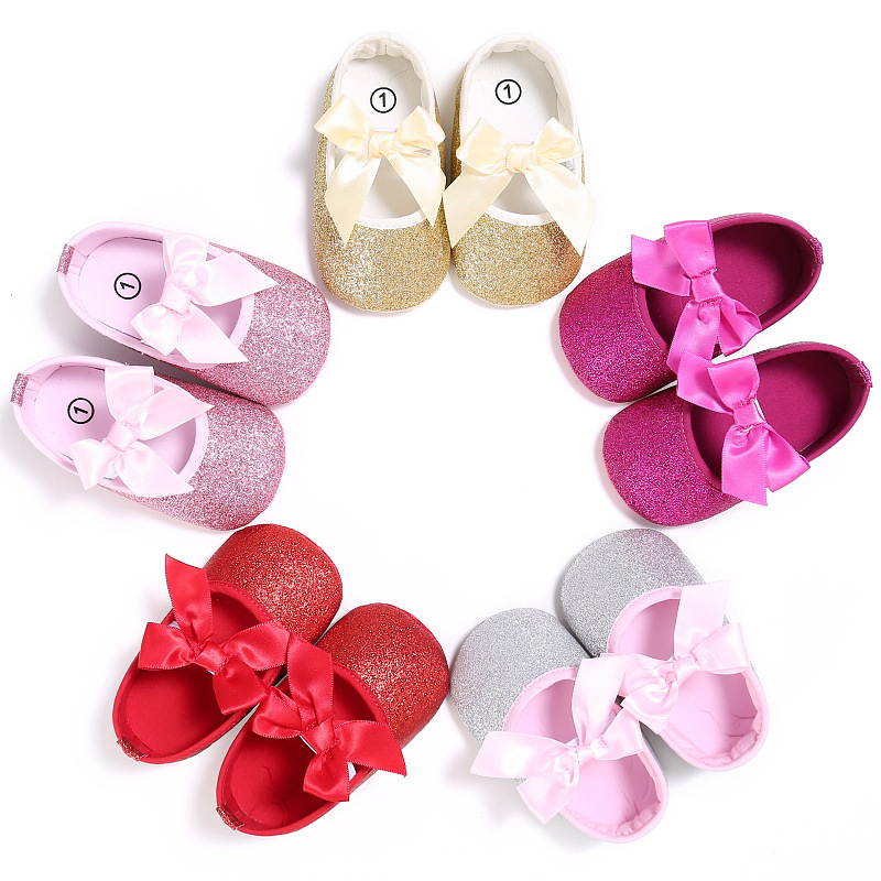 Spring And Autumn Girl Baby 0-1 Satin Ribbon Butterfly Sequined Princess Shoes Soft Bottom Baby Toddler Shoes