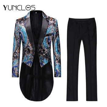 YUNCLOS 2019 New Men Dress Suit Wedding Suit For Men Single Breasted Slim Fit Men Tuxedos 2 Pieces (Jacket+Pant) Suits
