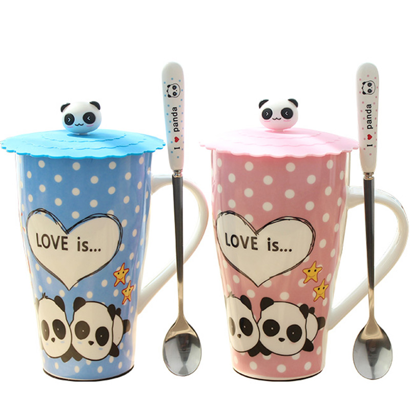 2018 Panda Cups Ceramic Coffee Mugs Milk Mugs Tea Cup with spoon lid Thermos water Bottle 560ml For Girls Kids Birthday Gifts
