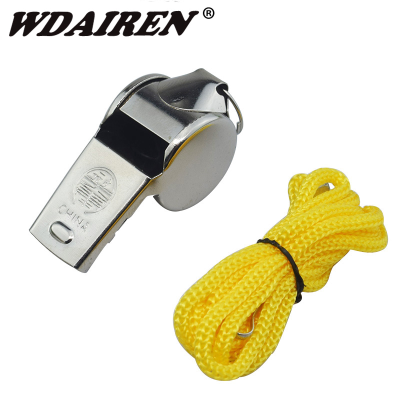 1Pcs Metal Whistle Referee Sport Rugby Party Outdoor Sports Like Whistle Training School Soccer Football Colorful Lanyard
