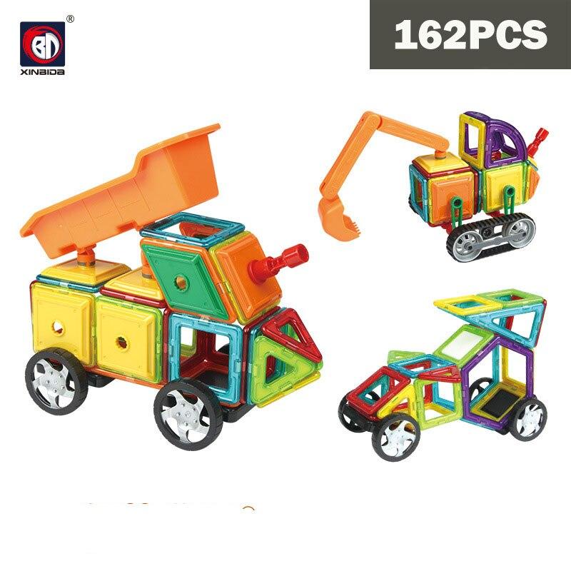 BD bricolage ingénierie véhicule camion blocs de construction magnétiques jouets 162 pièces Kit éducatif ABS aimant Designer enfants cadeau