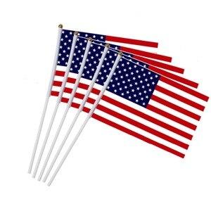 Image 2 - 5 sztuk kij flaga USA 14*21 cm ręczny mini flaga z biały słup żywy kolor i odporne na blaknięcie ręczny kij flagi