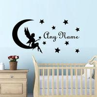 Name Stickers For Girls Room Baby Girl Nursery Wall Decal Personalized Art Decals Fairy On Moon