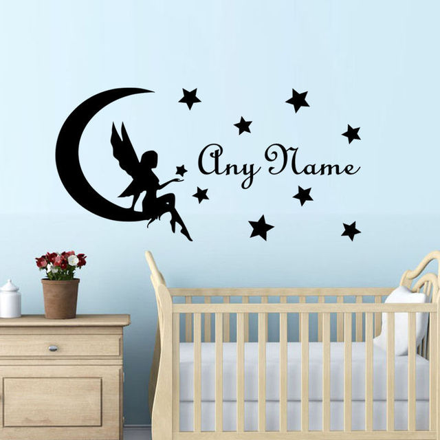 Name Stickers For Girls Room Baby Girl Nursery Wall Decal Personalized Art  Decals Fairy On Moon Part 79