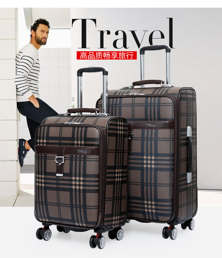 CARRYLOVE 2018 Business luggage 20/24 size fashion grid PU Rolling Luggage Spinner brand Travel Suitcase цена