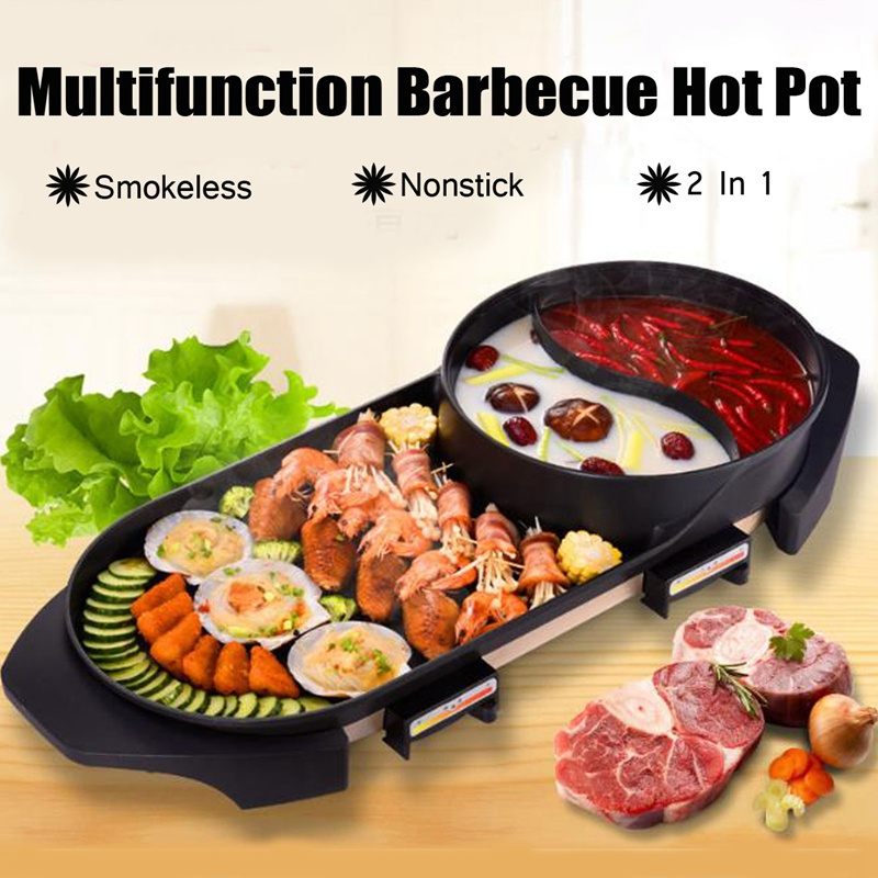 Warmtoo Larger 2 in 1 220V Electric Hot Pot Oven Smokeless Barbecue Machine Home BBQ Grills Indoor Roast Meat EquipmentWarmtoo Larger 2 in 1 220V Electric Hot Pot Oven Smokeless Barbecue Machine Home BBQ Grills Indoor Roast Meat Equipment