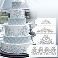 4PCS/Set Plastic Cake Decro Mould Beautiful Flower Fondant Cake Stencil Cookie Cake Mold Baking Tool
