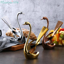 Creative 304 Stainless Steel Fruit Fork Set Zinc Alloy Swan Combination Kitchen Appliances Household Tool Gold