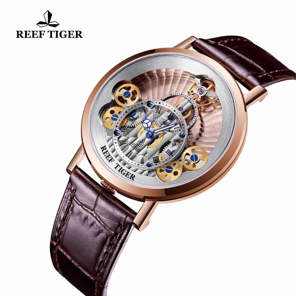 Reef Tiger/RT 2019 New Luxury Quartz Watches Men Waterproof Real Leather Strap Skeleton Quartz Watch Relogio Masculino RGA1958