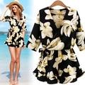 Más el tamaño grande 5xl ropa de verano 2016 estilo coreano impresión jumpsuits florales gasa femenina A0501