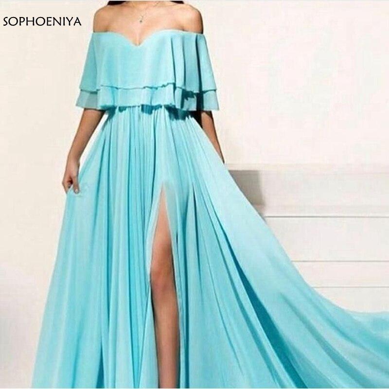 New Arrival Chiffon A-Line   Evening     dresses   2019 Off the shoulder Cheap   evening   gowns robe de soiree abiye abendkleider