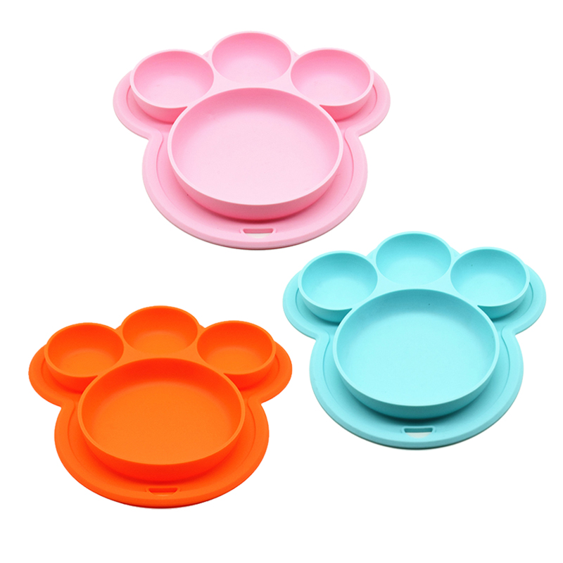 Baby Silicone Plate BPA Free Cartoon Bear Paw Shape Children Dinner Dishes Suction Baby Training Tableware Kids Feeding Bowls
