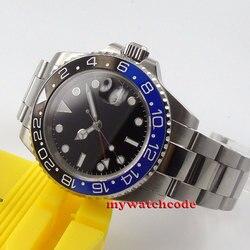 40mm czarna tarcza parnis ceramiczna ramka szkiełka zegarka GMT okno daty automatyczny męski zegarek P457