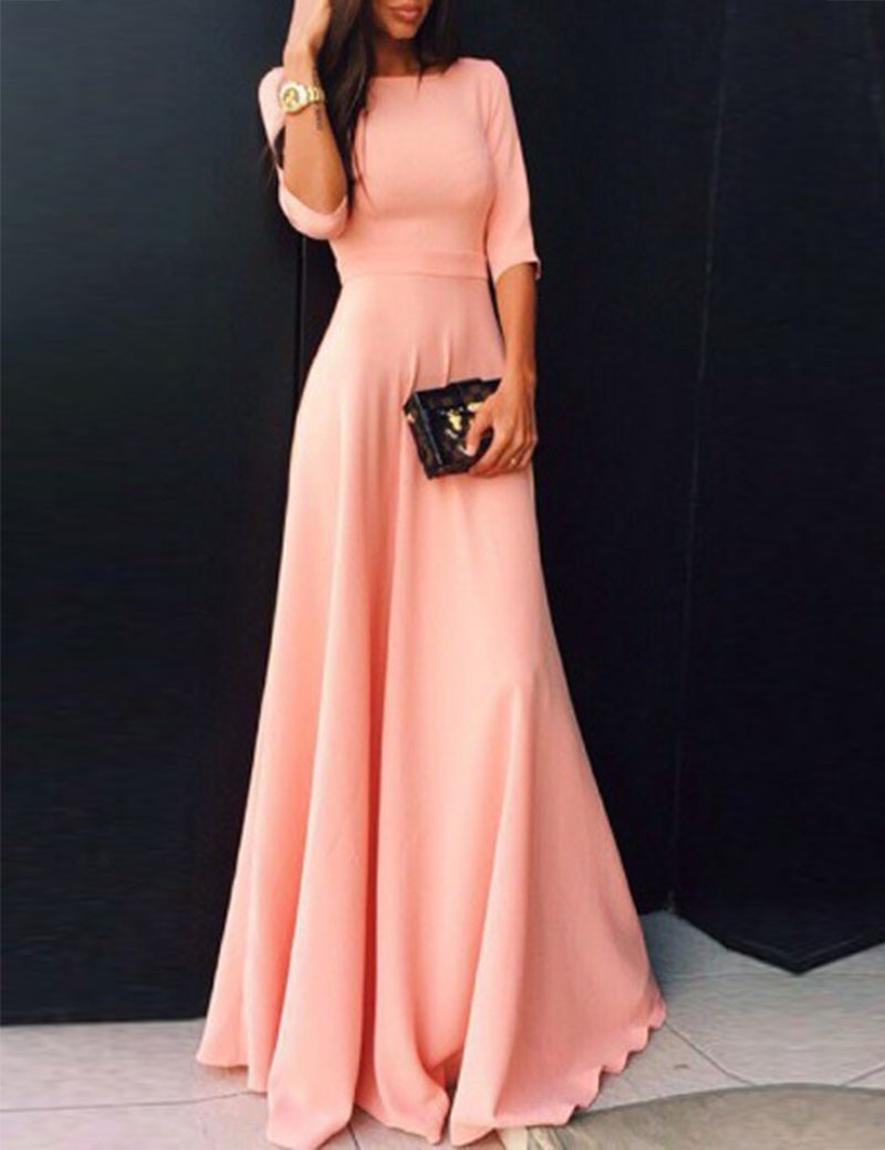 2017 Coral Long Satin Modest   Bridesmaid     Dresses   With Half Sleeves A-line Floor Length Wedding Party Guests   Dresses   Modest Cheap