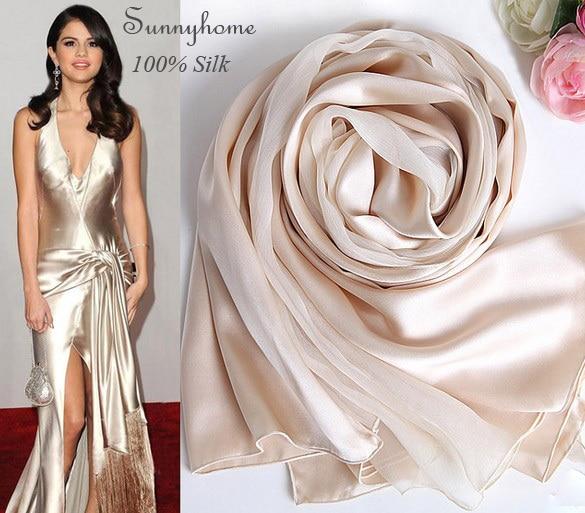 Шарф женщин Зимние Шарфы шелковые Wrap платье аксессуар 100% сатин лоскутная формальное партия пашмины обычный Шампанское золото хиджаб