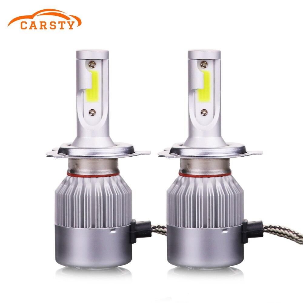Carsty C6 H1 H4 <font><b>H7</b></font> HB4 9006 HB3 9005 H8 H11 COB Car <font><b>Led</b></font> Headlights Bulbs Lamps Headlamps Hi-Lo Beam 72W 7600LM 6000K 12v <font><b>24v</b></font>