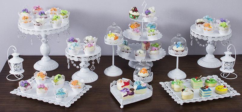 12pcs/set White cake stand wedding cupcake stand set glass dome ...