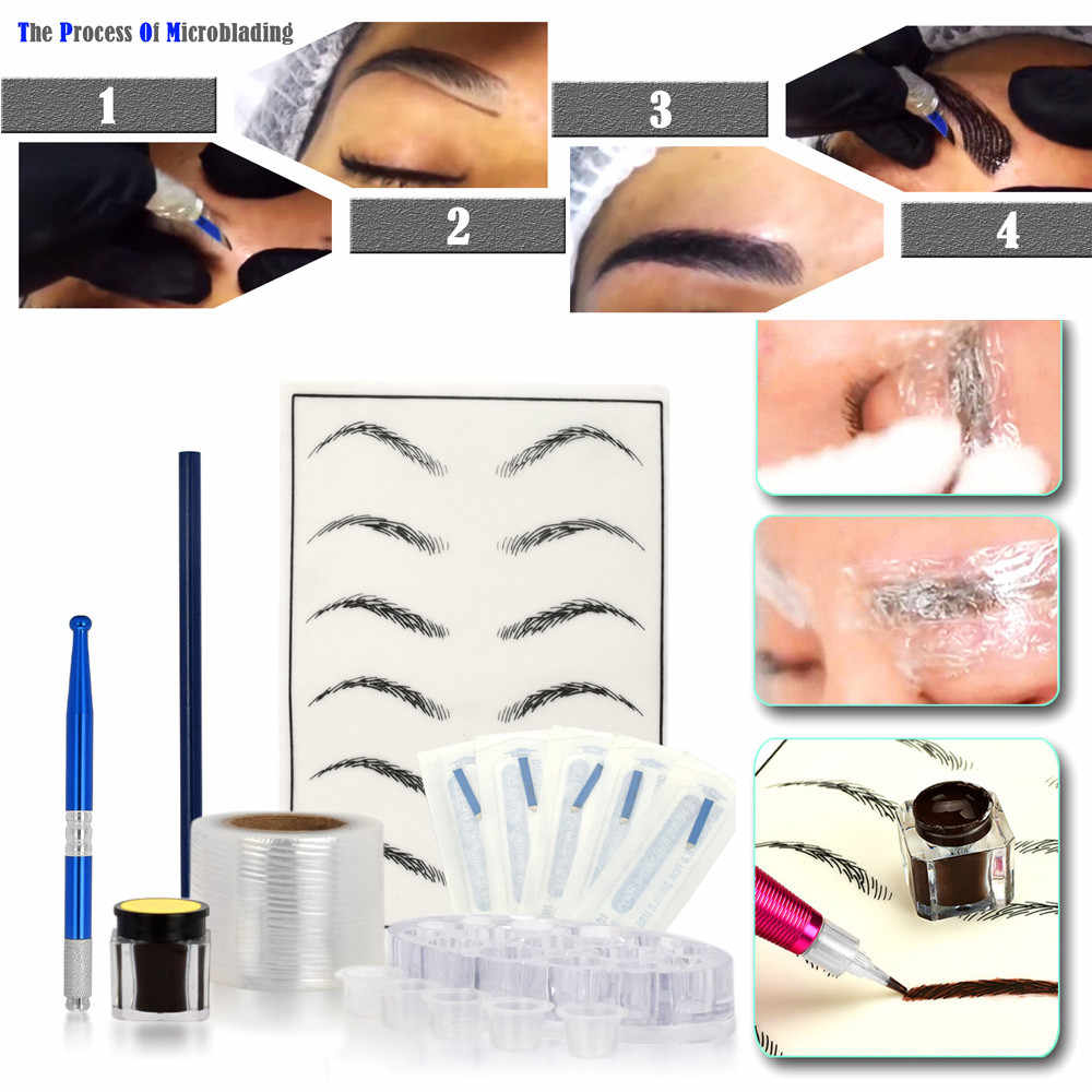 Microblading Practice Skin HandMade Pen Makeup Eyebrow Tattoo Needle Pigment Kit 2019 new Tattoo sets #1226 BC
