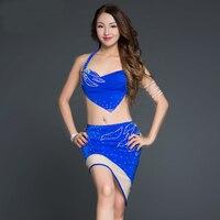 Bellydance Irregular Rhinestone Top Short Skirt Sexy Belly Dance 2pcs Set For Women Female Gypsy Costume