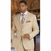 Champagne Men's Dinner Party Prom Suits Groom Tuxedos Groomsmen Wedding Blazer Suits (Jacket+Pants+Vest) NO:226