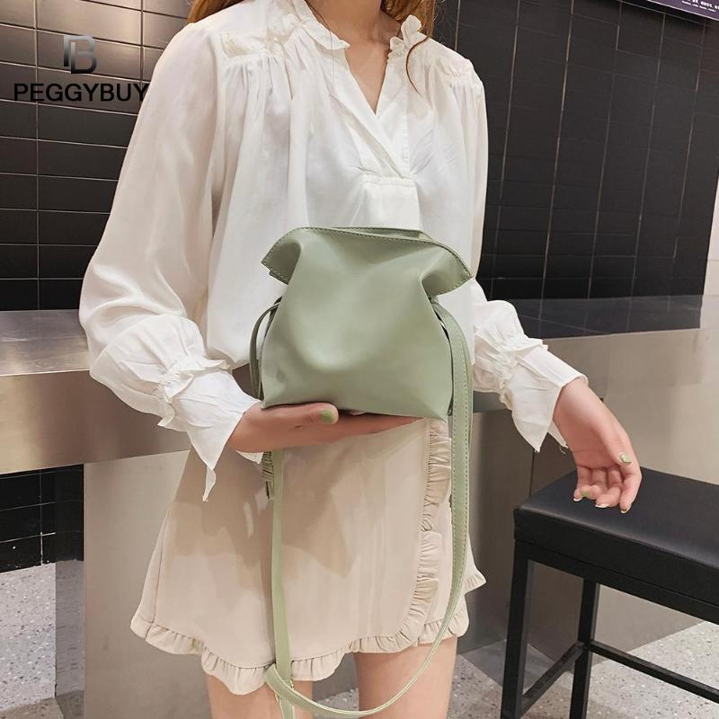 Solid Color Shoulder Handbags Women PU Leather Drawstring Crossbody Bags Soild Color Female Simple Bag Bolsas Feminina