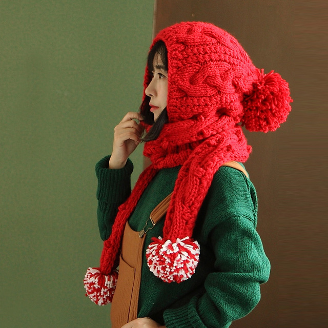 Cute Handmade Winter Warm Thick Knitted Hat Caps Scarf Beanie
