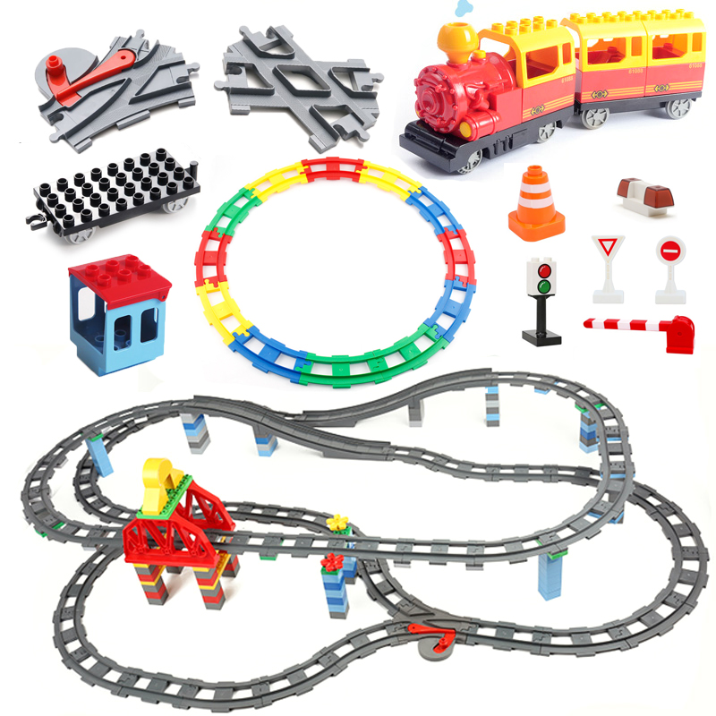 Train Track Sets Big Building Blocks Vehicle Accessories DIY Assembly Railway Children Interactive Toys Compatible Duplo Bricks