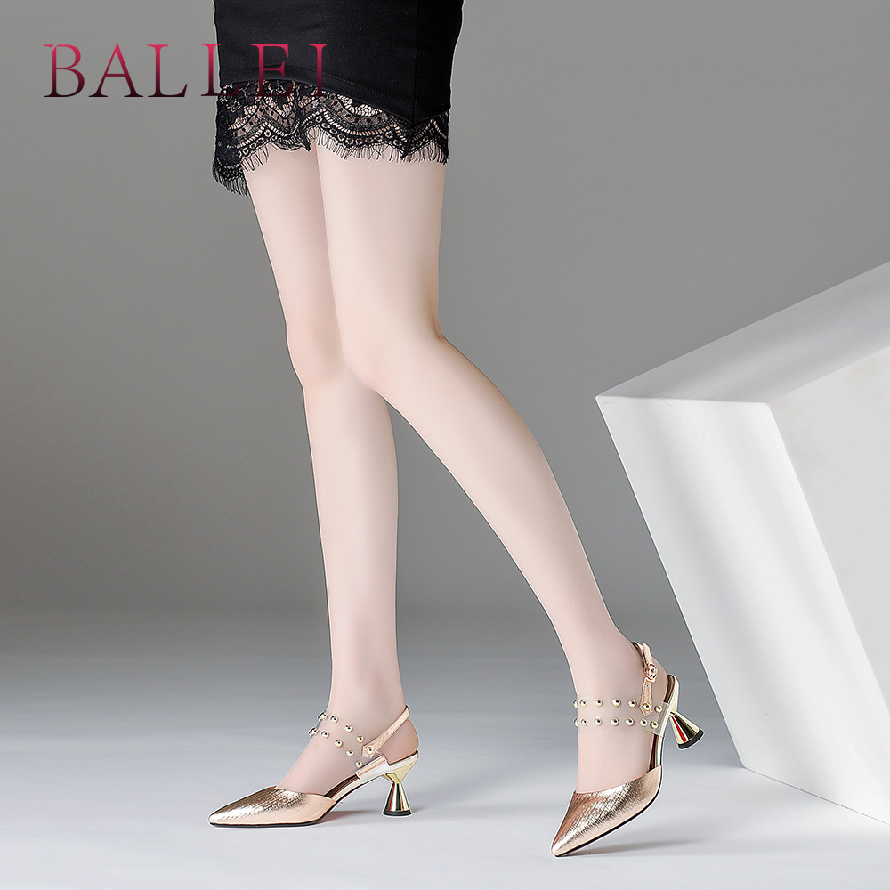 Handarbeit Leder Spitz Sandalen Aus Weiche Elegante Sliver Solide Retro Mode S119 Echtem gold Sexy Ferse Ballei Klassische Frau Schuhe wfq0BI