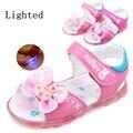 Новое поступление 1 пара мода летом зажгли девушка сандалии + внутренние 12.5 - 15 см, Детская обувь, Супер качество дети мягкие сандалии