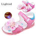 NEW Arrival 1pair Fashion Summer Lighted Girl Sandals+inner 12.5-15cm,Children Shoes, Super Quality Kids Soft Sandals