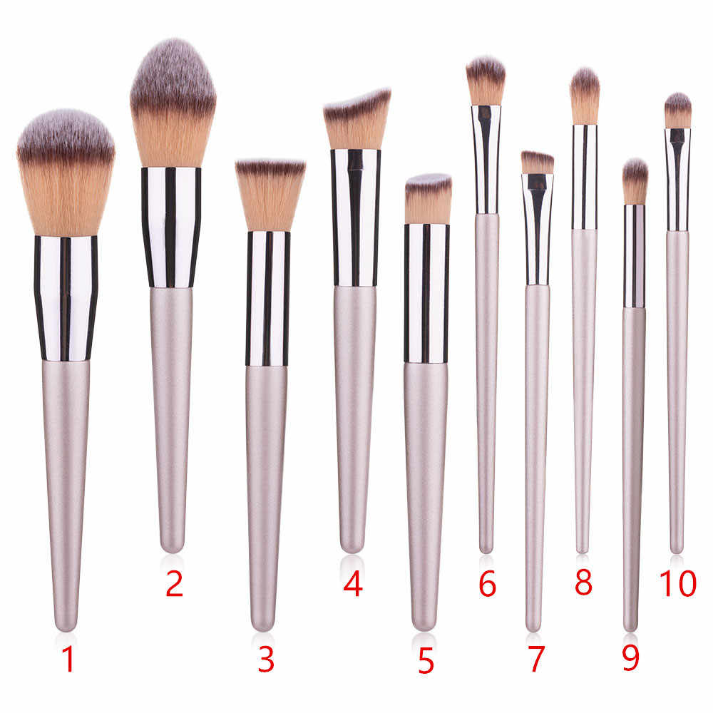 10 champagne gold makeup brush set pointed handle single powder brush eye shadow brush foundation makeup brush