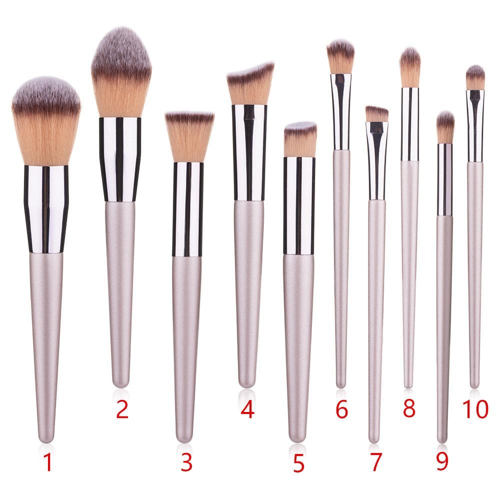 10 champagne gold makeup brush set pointed handle single powder brush eye shadow brush foundation makeup brush