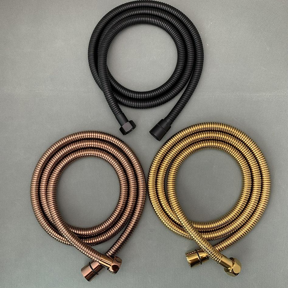 Matte Schwarz/Titan Gold/Rose Gold 1,5 m/59 zoll Edelstahl Flexible Dusche/Bidet Schlauch mit Kupfer Core