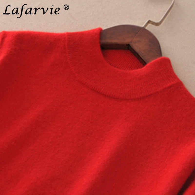 Jersey tejido mezcla de Cachemira a la moda de Lafarvie para Mujer Tops Otoño Invierno cuello alto jerseys mujer manga larga Color sólido