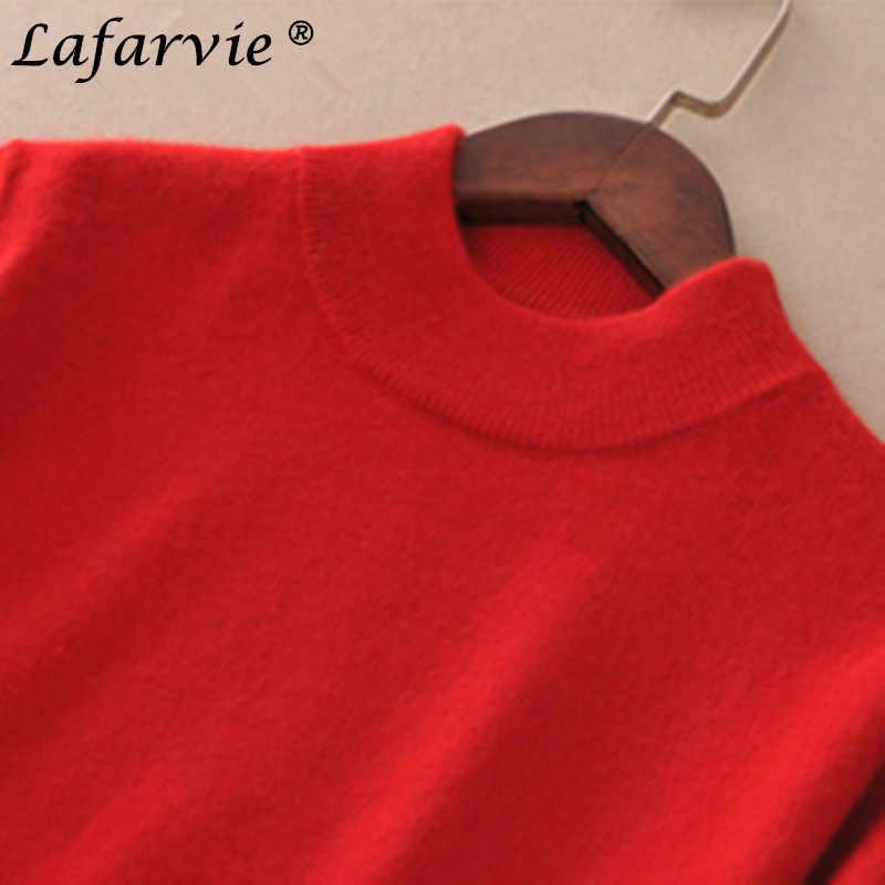 Lafarvie סוודר קשמיר מעורבב סרוגים אופנה נשים חולצות סתיו חורף סוודרים עם צווארון גולף שרוול ארוך נשי צבע אחיד