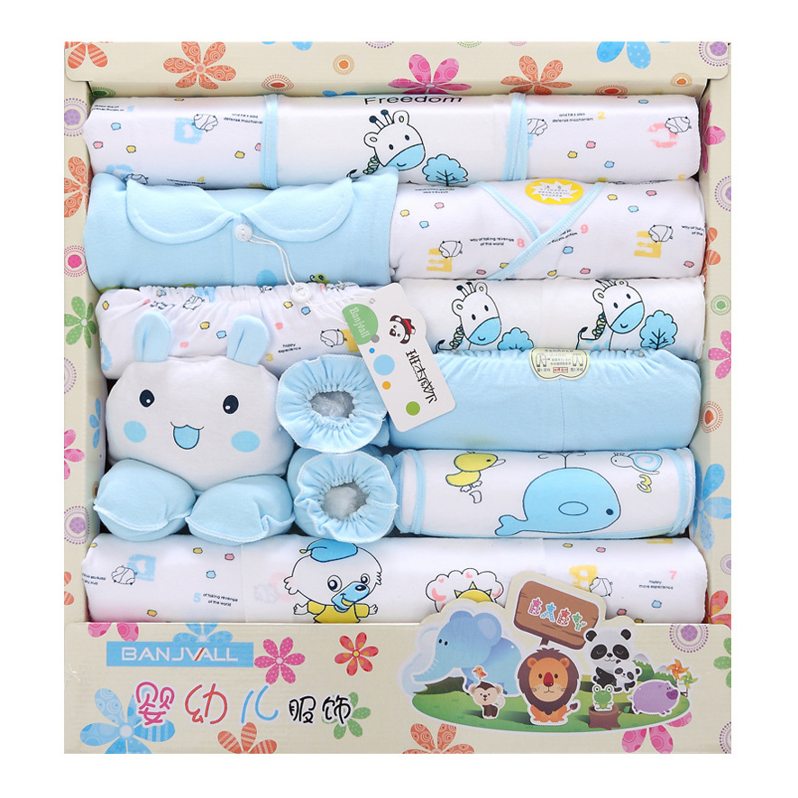 100% cotton newborn gift box (18pcs/sets) baby clothes Spring and Summer warm set newborn baby set for 0- 12 month baby